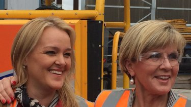 Julie Bishop campaigning in Lindsay with MP Fiona Scott at RKR engineering.