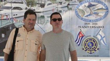 John Hemingway (left) and Patrick Hemingway (right) in Havana.