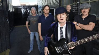 Back in black, and on stage: Cliff Williams, Chris Slade, Angus Young, Stevie Young, Brian Johnson.