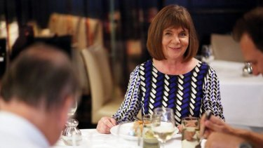 Julia Donaldson, author of <i>The Gruffalo</i>, in animated conversation during lunch at Cecconi's.