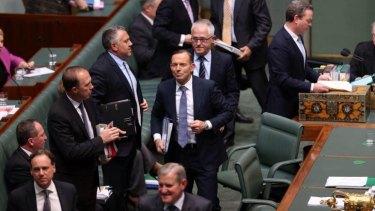 Tony Abbott leaves question time on Thursday.