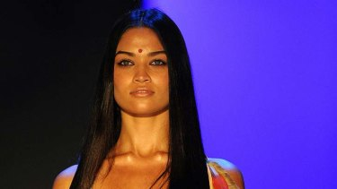 A model in the controversial Lakshmi swimsuit.