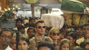 """Ben (Joel Edgerton, left) and Fiona (Radha Mitchell) in Kolkata in the scene from Claire McCarthy's """"The Waiting City."""""""
