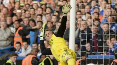 Calamity: Mark Schwarzer fails to save a penalty during Chelsea's shock loss to Sunderland in the English Premier League.
