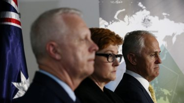 Prime Minister Malcolm Turnbull launches the 2016 Defence white paper at ADFA in Canberra with Chief of Defence Force Mark Binskin and Defence Minister Marise Payne.