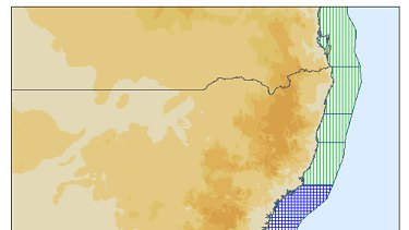This image from the Joint Australian Tsunami Warning Centre shows the area of NSW's coast under threat of dangerous waves.
