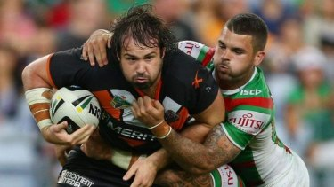 Changed man: After being a Manly fan as a child, Aaron Woods's loyalty now lies with the Wests Tigers.