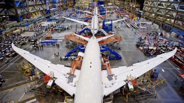 Creature comforts: Boeing's Dreamliner production line just outside Sattle. The plane boasts improved fuel efficiency and reduced cabin pressurisation.