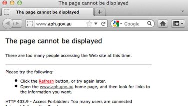 Visitors to the aph.gov.au site were greeted with this error this morning.