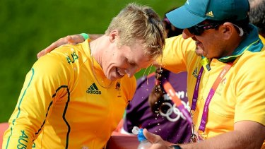 Sam Willoughby with his coach after winning silver for Australia in the men's BMX at the London Olympics.