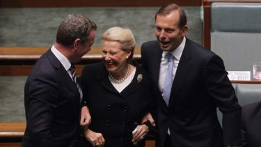 "Bronwyn Bishop is ""dragged"" to the chair by Prime Minister Tony Abbott and the Leader of the House Christopher Pyne after being elected as the Speaker of the 44th Parliament."