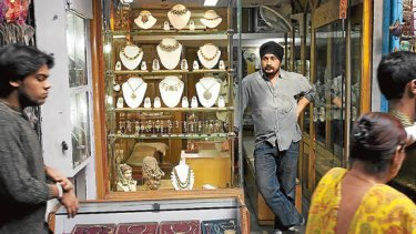 Gold jeweller Amit Singh at his tiny premises in Chandni Chowk.