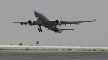 A RAAF KC-30A tanker transport takes off in the Middle East.
