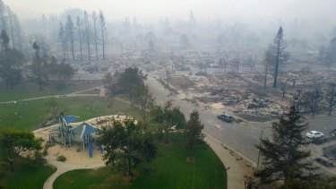 Homes are completely destroyed in Santa Rosa, California.