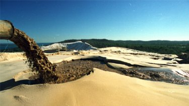 The Bayside sand mine on Stradbroke Island.