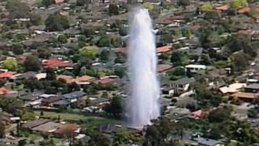 Water from the burst main shoots high into the air, showering homes in Glen Waverley.
