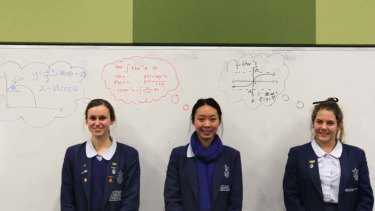 ''I love extension maths ... But I don't think I'd be able to do 4 unit, so I would be sad'' ... says Sophie Sauerman, far right, pictured with fellow Monte Sant Angelo students Brooklyn Newey and Indri Lynarko.