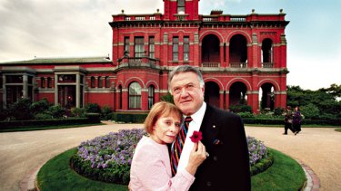 Grand style ... Richard Pratt with wife Jeanne outside their home Raheen in the Melbourne suburb of Kew.