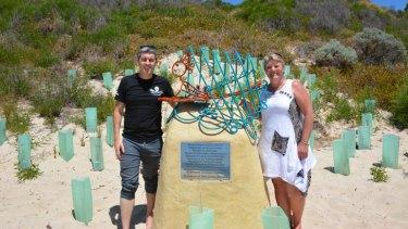 Sharon Burden at son Kyle's memorial.