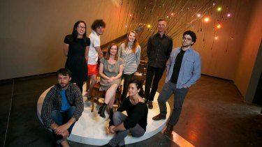 <i>NEW14</i> artists (front row) Charles Dennington and Jelena Telecki, (second row from left) Taree Mackenzie, Kenny Pittock, curator Kyla McFarlane, Danae Valenza, Andrew Hazewinkel, Daniel McKewen.