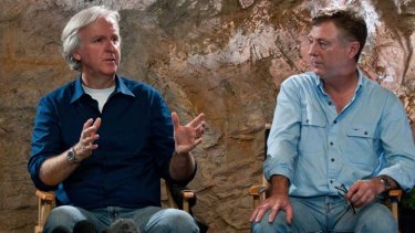 James Cameron, left, with late Australian screenwriter Andrew Wight.