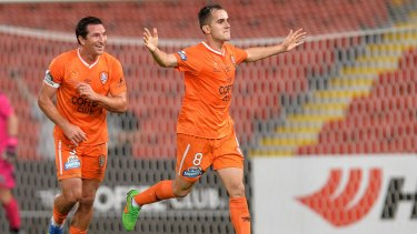 Canberra product Steven Lustica scored a hat-trick for the Brisbane Roar in Thursday night's 6-1 thumping of the Central Coast Mariners at Suncorp Stadium.