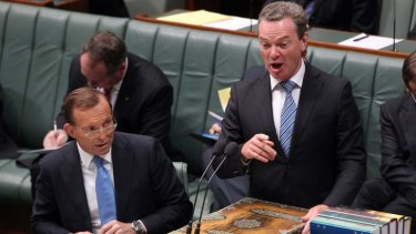 Leader of the house and master of the dark arts of Parliament, Christopher Pyne, and Prime Minister Tony Abbott.