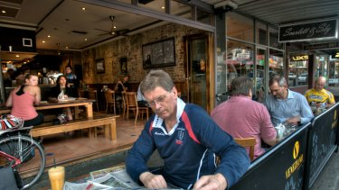 Former Victorian premier Ted Baillieu after his first year in office having breakfast at a Glenferrie Road cafe in Hawthorn.