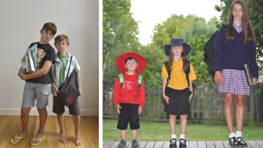 (From left) Going private: Will, 12, and Henry, 10, attend Xavier College. Going public: Ronan, 3, is at kindergarten, Scarlett, 5, at primary school and Romany, 12, at high school.