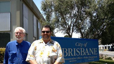 Councilmember Ray Miller and Mayor W. Clarke Conway outside Brisbane City Hall in California.