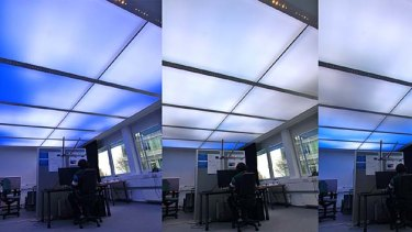 The dynamic luminous ceiling, created by researchers at the Fraunhofer Institute for Industrial Engineering in Germany, in action.