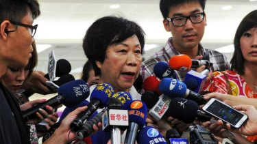 """""""It's chaotic on the scene"""" ... The Director of Taiwan's Civil Aeronautics Administration (CAA) Jean Shen speaks to media at the Sungshan airport in Taipei about the TransAsia crash."""