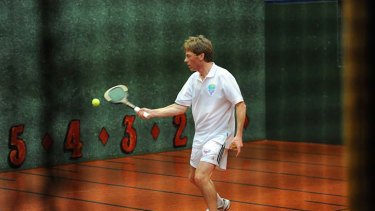 Mark Drysdale playing Real Tennis at the Royal Melbourne Tennis Club.