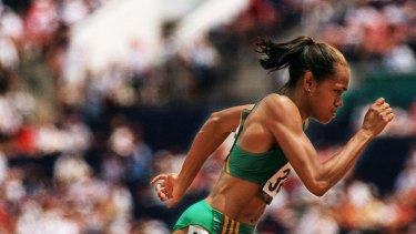 One of Australia's greatest athletics stars, Cathy Freeman running at the Atlanta Olympics.