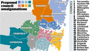 The proposed council amalgamations.