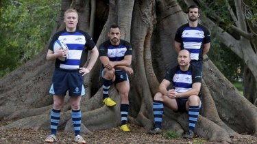 Members of the Sydney Convicts gay rugby team: Jason Fowler, Fernando Perez, Kevin Perry and Simon Hargrave.