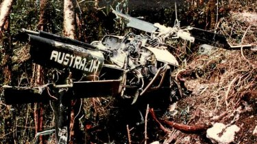 Wreckage: The RAAF Iroquois that crashed.