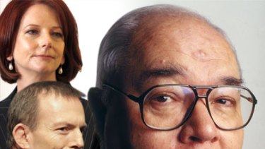 Veteran political reporter Laurie Oakes has kept Julia Gillard and Tony Abbott on their toes during this campaign. <I>Graphic: Liam Phillips</i>