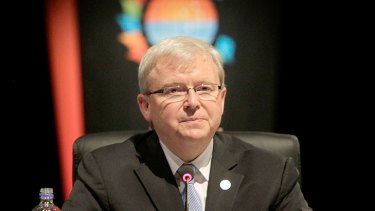 No comment ... Kevin Rudd says he is focused on CHOGM, not pokies.
