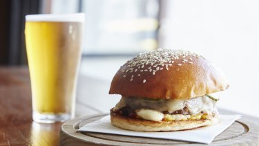 New York style cheese burger at the Aviary in Abbotsford.