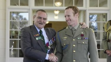 1969 Victoria Cross recipient Keith Payne with Trooper Mark Donaldson.