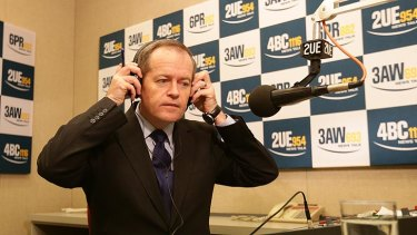 And now for some questions: Bill Shorten prepares for a radio interview on Thursday morning, hours after the leadership shift.