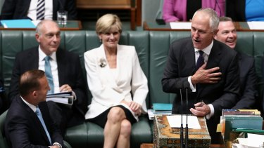 Prime Minister Tony Abbott and Communications Minister Malcolm Turnbull during Question Time on Monday.