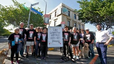 Fight goes on: The Save Williamstown group outside the Oriental Hotel.