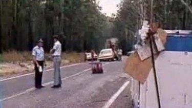 A screen shot of the  truck crash in 1980.