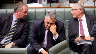Treasurer Joe Hockey with Agriculture Minister Barnaby Joyce and Deputy Prime Minister Warren Truss in Question Time on Monday.