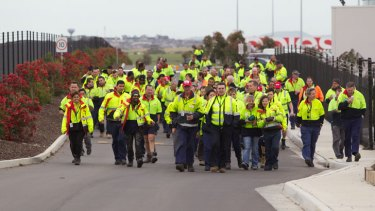 Walkout: Staff protest at the Linfox plant in Truganina.
