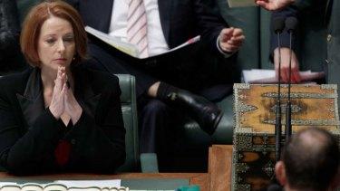 Standoff ... Julia Gillard and Tony Abbott.