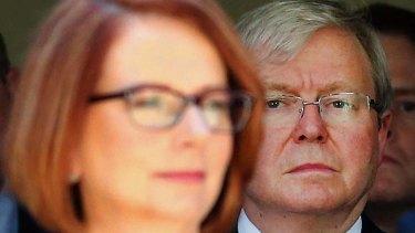 Leadership speculation: Prime Minister Julia Gillard, left, and former prime minister Kevin Rudd.