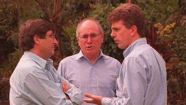 Liberal men: Grahame Morris, John Howard and media adviser David Gazard.
